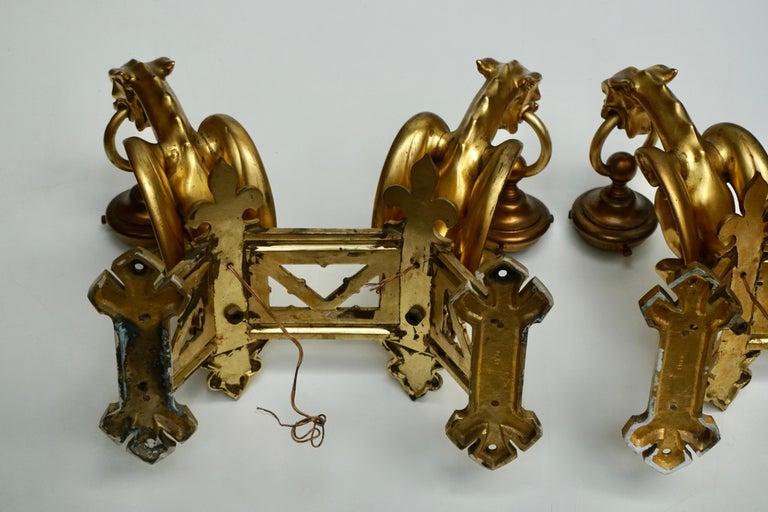 Pair of Bronze Gilt Wall Sconces Representing Two Griffins For Sale 14
