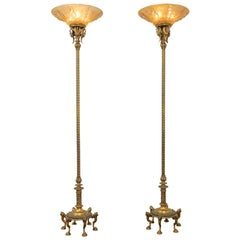Pair of Bronze & Glass Torchiere Floor Lamps with Nudes on the Glass, circa 1915