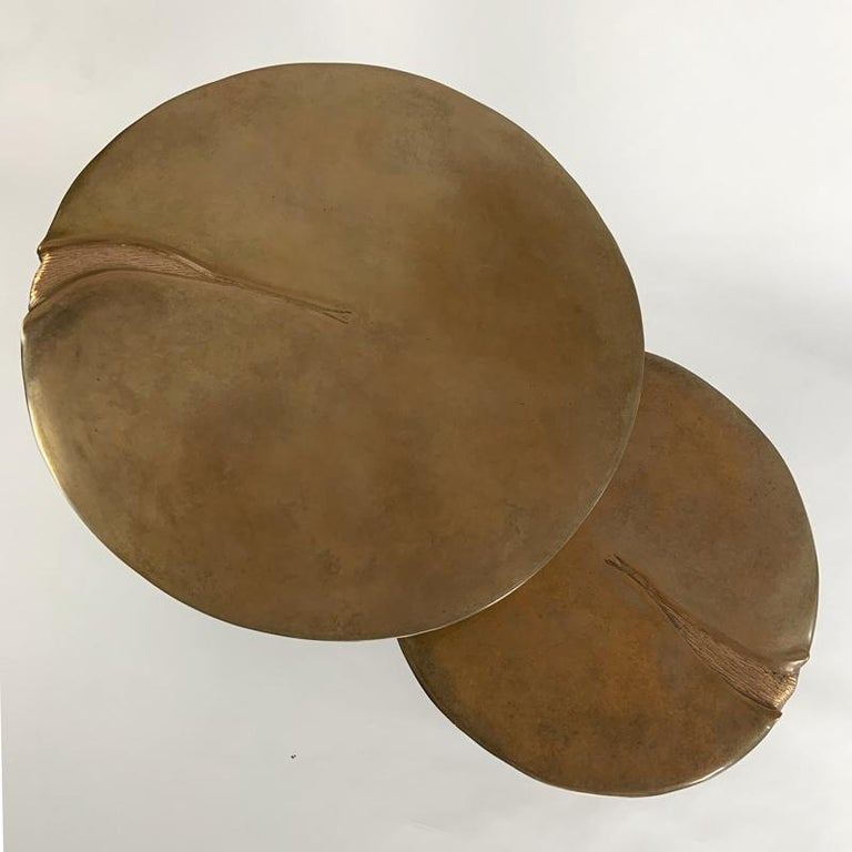Pair of Bronze Gueridons / Side Tables by designer Hoon Moreau For Sale 3