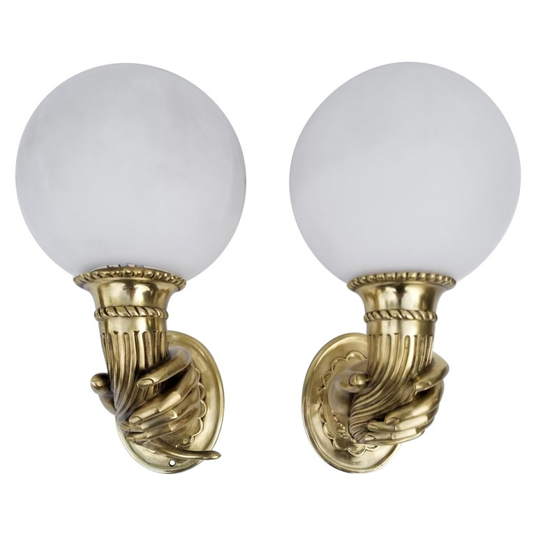 """Pair of Bronze """"Hand"""" Sconces For Sale"""