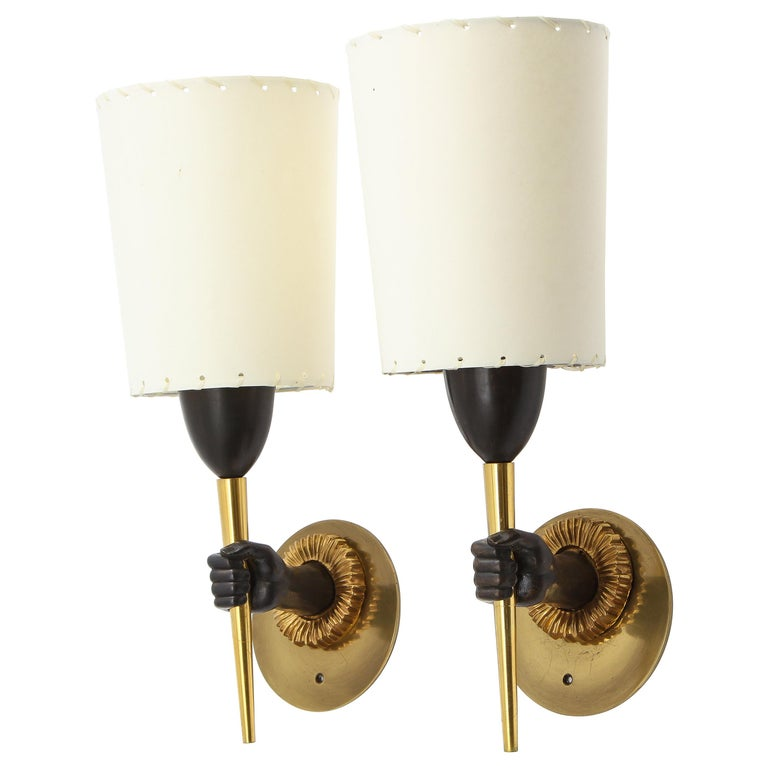 """Pair of Bronze """"Hands"""" Sconces in Dual Patina by Maison Jansen, France, 1960s For Sale"""