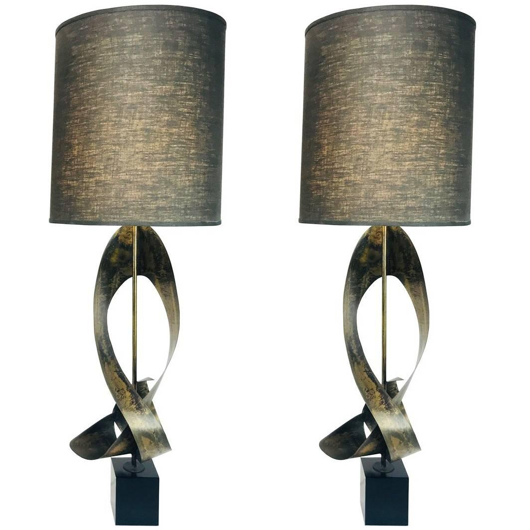 Pair of Bronze Sculptural Laurel Lamps