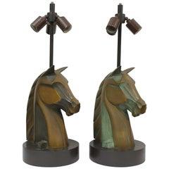 Pair of Bronze Horse Head Lamps