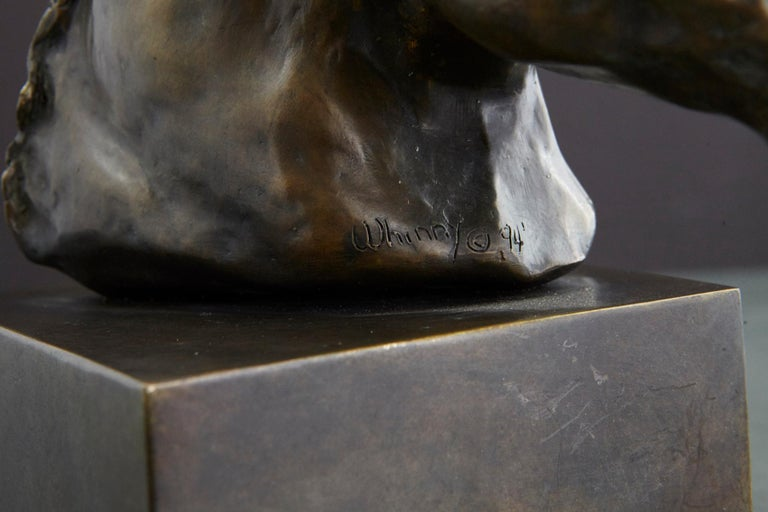 Pair of Bronze Horse Head Sculptures Mounted on Bronze Bases, Signed and Dated For Sale 5
