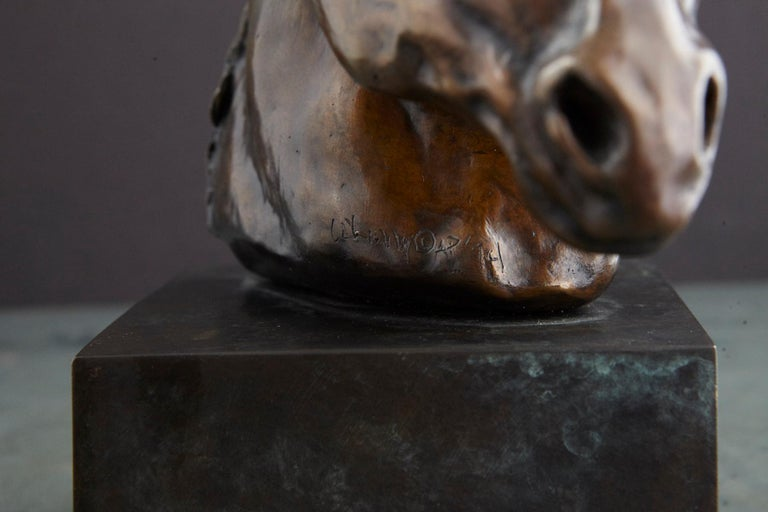 Pair of Bronze Horse Head Sculptures Mounted on Bronze Bases, Signed and Dated For Sale 6