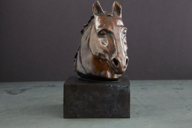 Pair of Bronze Horse Head Sculptures Mounted on Bronze Bases, Signed and Dated For Sale 7