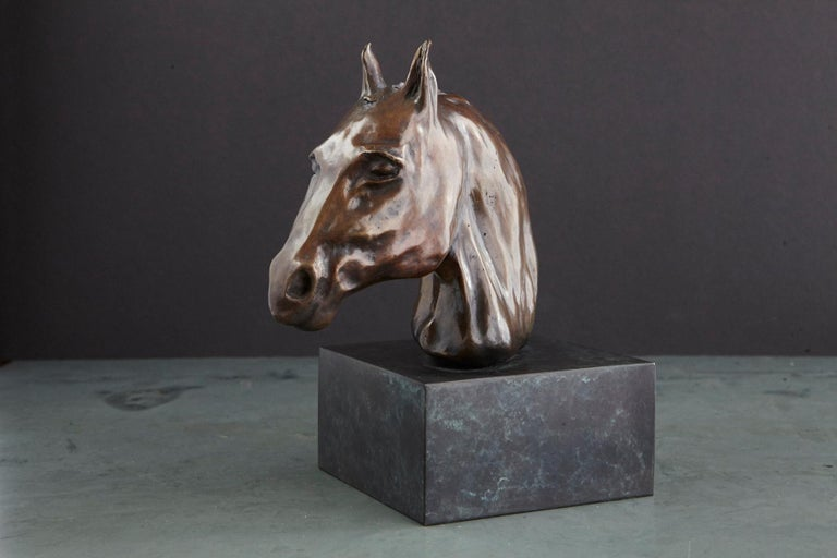 Pair of Bronze Horse Head Sculptures Mounted on Bronze Bases, Signed and Dated For Sale 8