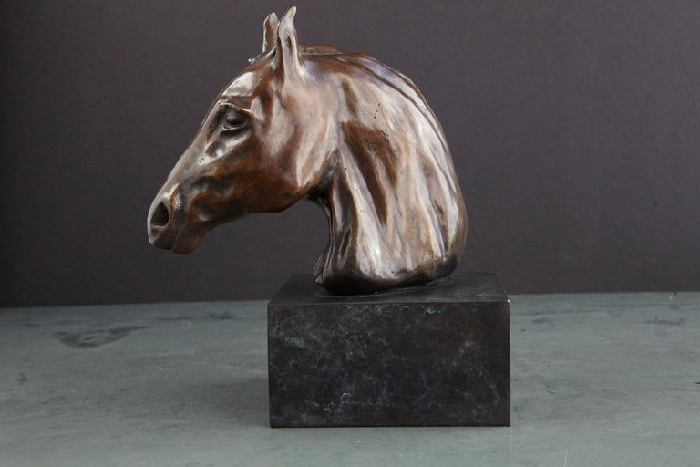 Pair of Bronze Horse Head Sculptures Mounted on Bronze Bases, Signed and Dated For Sale 9