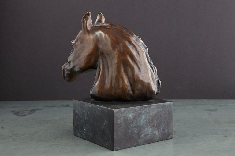 Pair of Bronze Horse Head Sculptures Mounted on Bronze Bases, Signed and Dated For Sale 10