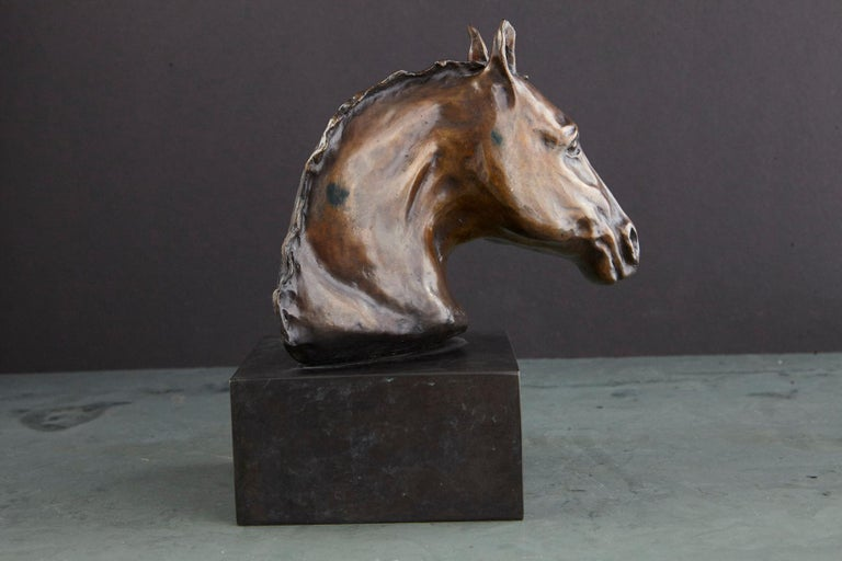 Pair of Bronze Horse Head Sculptures Mounted on Bronze Bases, Signed and Dated For Sale 12