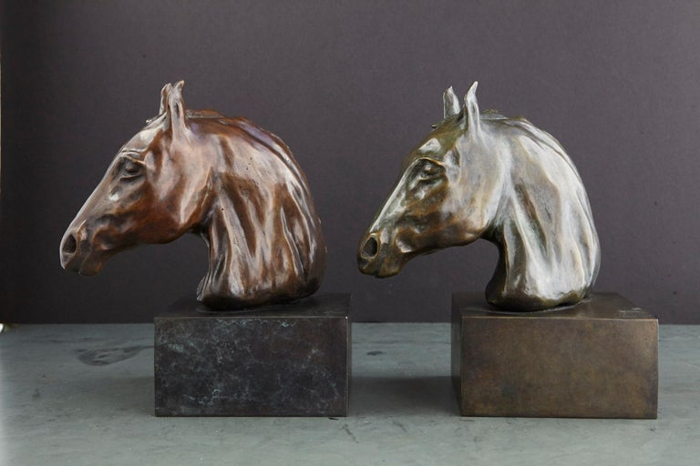 American Pair of Bronze Horse Head Sculptures Mounted on Bronze Bases, Signed and Dated For Sale