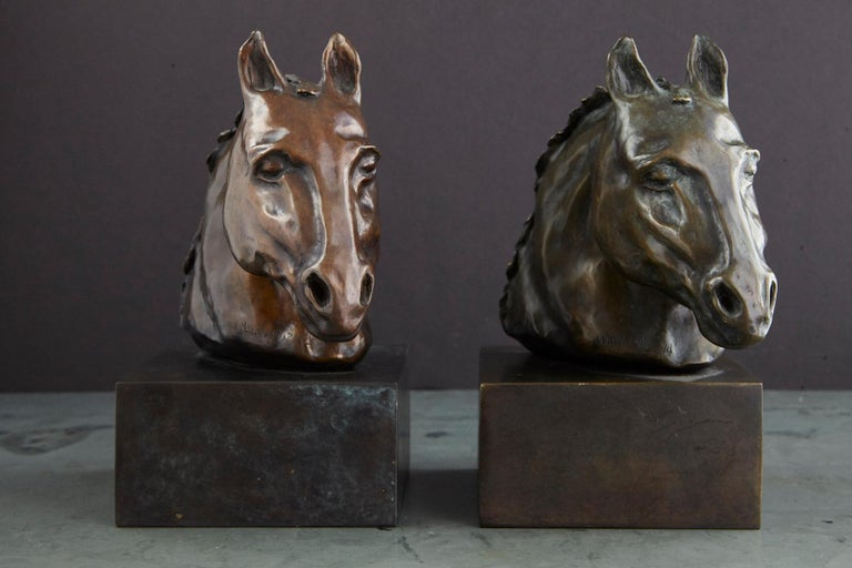 Pair of Bronze Horse Head Sculptures Mounted on Bronze Bases, Signed and Dated In Good Condition For Sale In Weston, CT