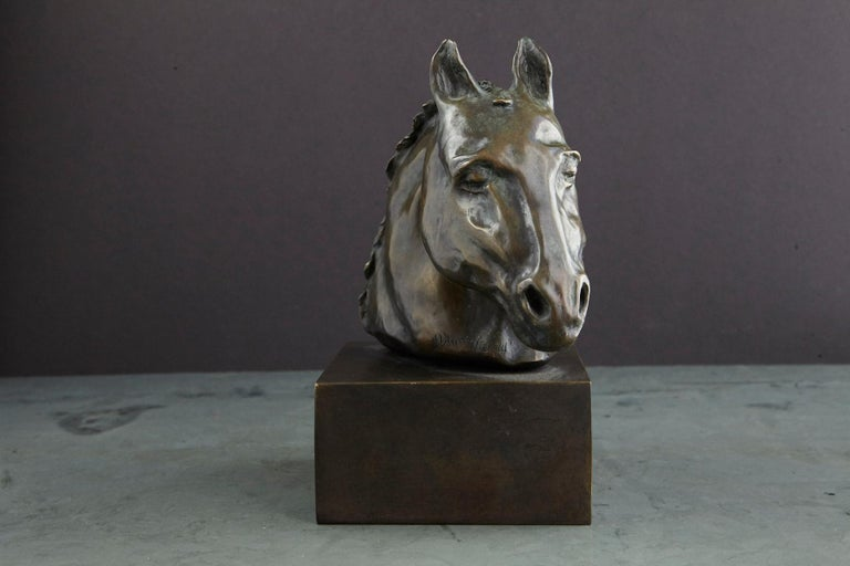 Late 20th Century Pair of Bronze Horse Head Sculptures Mounted on Bronze Bases, Signed and Dated For Sale