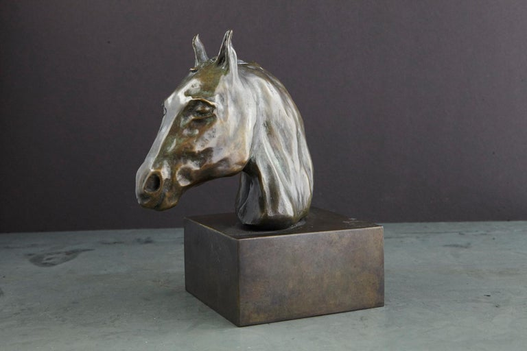 Pair of Bronze Horse Head Sculptures Mounted on Bronze Bases, Signed and Dated For Sale 1