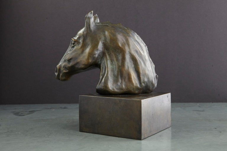 Pair of Bronze Horse Head Sculptures Mounted on Bronze Bases, Signed and Dated For Sale 2