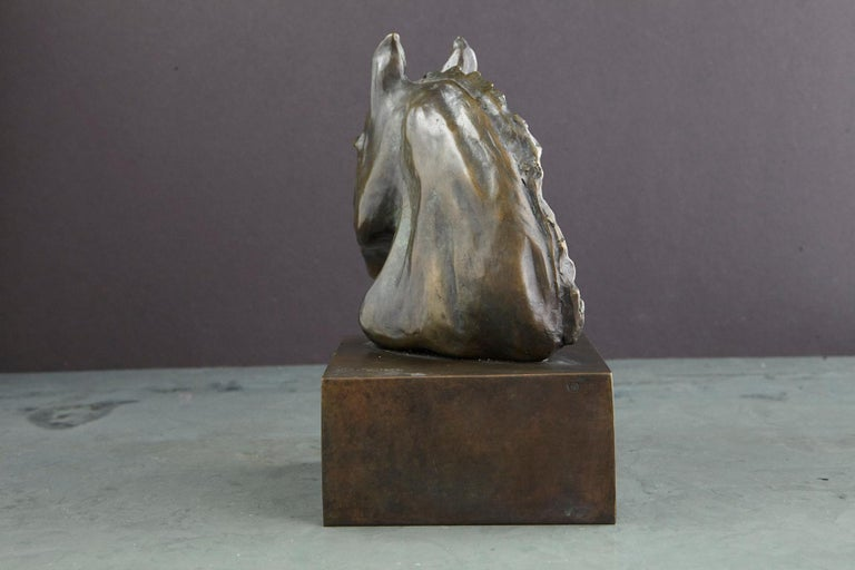 Pair of Bronze Horse Head Sculptures Mounted on Bronze Bases, Signed and Dated For Sale 3