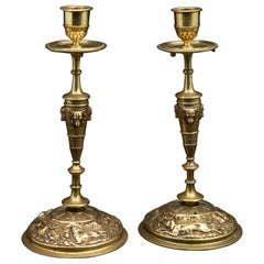 Pair of Bronze Hunting Dog Candlesticks by Jules Moigniez