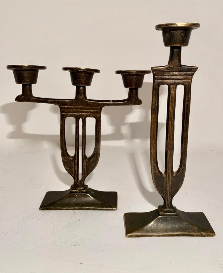 Pair of Italian Arts and Crafts Mission Style Candlesticks - this lovely pair are the perfect compliment to the Arts and Crafts space! Well made with design influenced the more organic Italian arts and crafts space  second candle stick is: 1.5