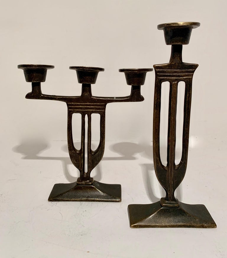 Pair of  Bronze Italian Arts and Crafts Mission Style Candlesticks In Good Condition For Sale In Los Angeles, CA