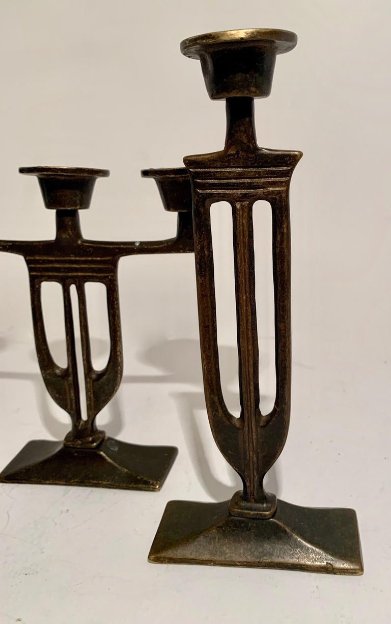 20th Century Pair of  Bronze Italian Arts and Crafts Mission Style Candlesticks For Sale