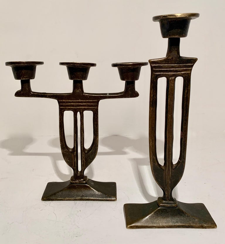 Pair of  Bronze Italian Arts and Crafts Mission Style Candlesticks For Sale 2