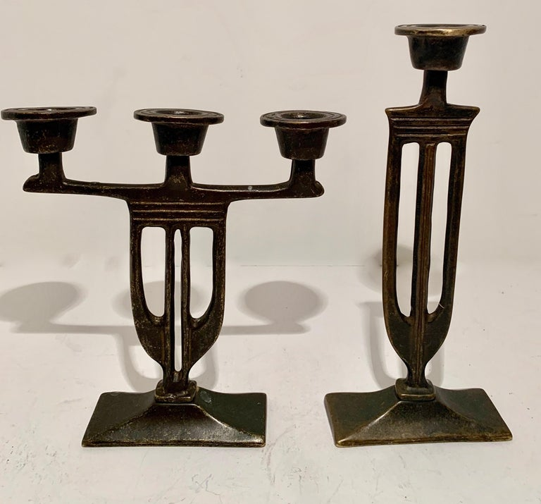 Pair of  Bronze Italian Arts and Crafts Mission Style Candlesticks For Sale 3