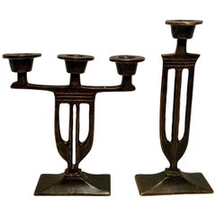 Pair of  Bronze Italian Arts and Crafts Mission Style Candlesticks