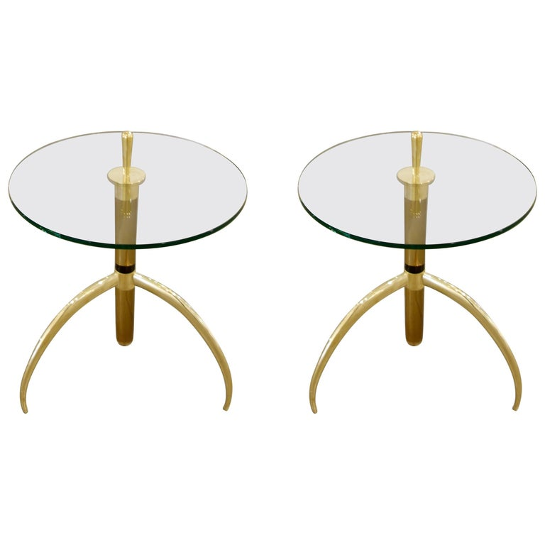 Pair of Bronze Italian Murano Tubular Glass and Brass Tripod Side or End Tables For Sale