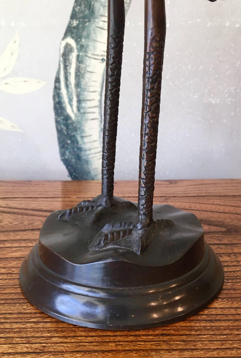 Pair of Bronze Japanese Candlesticks For Sale 1