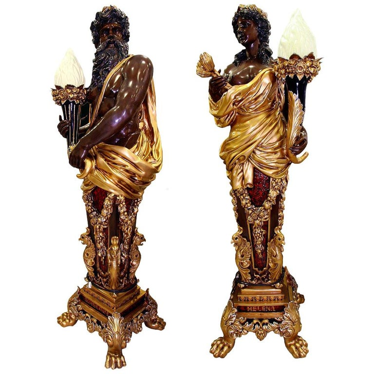 Pair of Bronze Lampers Representing Zeus and his Wife Hera For Sale
