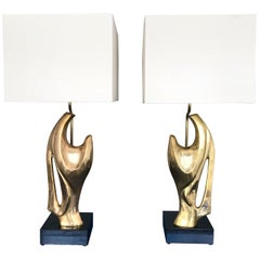 Pair of Bronze Lamps by Alain Chervet, France, 1970s