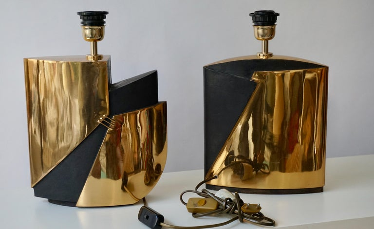 Pair of Bronze Lamps by Esa Fedrigolli For Sale 5