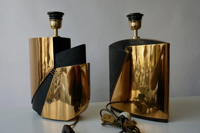 Pair of Bronze Lamps by Esa Fedrigolli For Sale 6