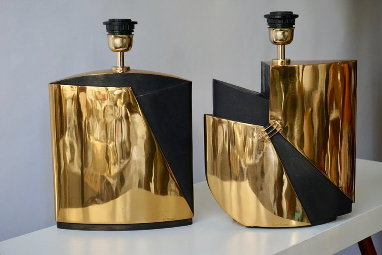 Italian Pair of Bronze Lamps by Esa Fedrigolli For Sale