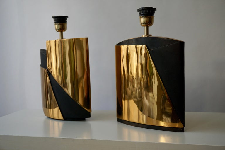 Pair of Bronze Lamps by Esa Fedrigolli In Good Condition For Sale In Antwerp, BE
