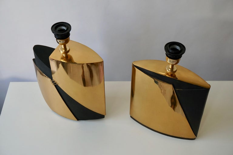 20th Century Pair of Bronze Lamps by Esa Fedrigolli For Sale