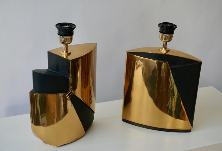Pair of Bronze Lamps by Esa Fedrigolli For Sale 2