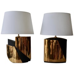 Pair of Bronze Lamps by Esa Fedrigolli