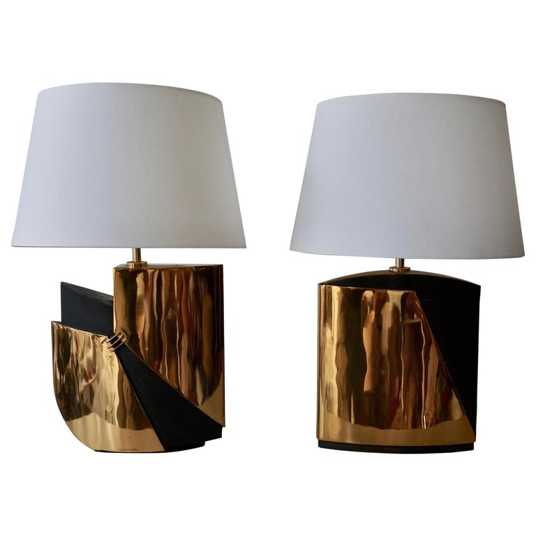 Pair of Bronze Lamps by Esa Fedrigolli For Sale