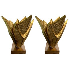 Pair of Bronze Lamps Milos by Maison Charles, France, 1970s