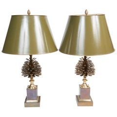 "Pair of Bronze Lamps ""Pine Cone"" in the Style of Maison Charles"