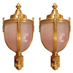 Pair of bronze lanterns with brackets