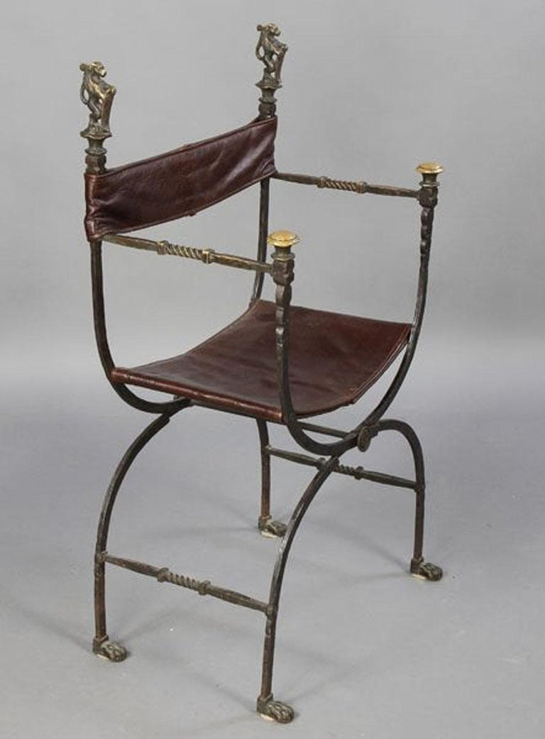 American Pair of Bronze Leather and Iron Campaign Chairs For Sale