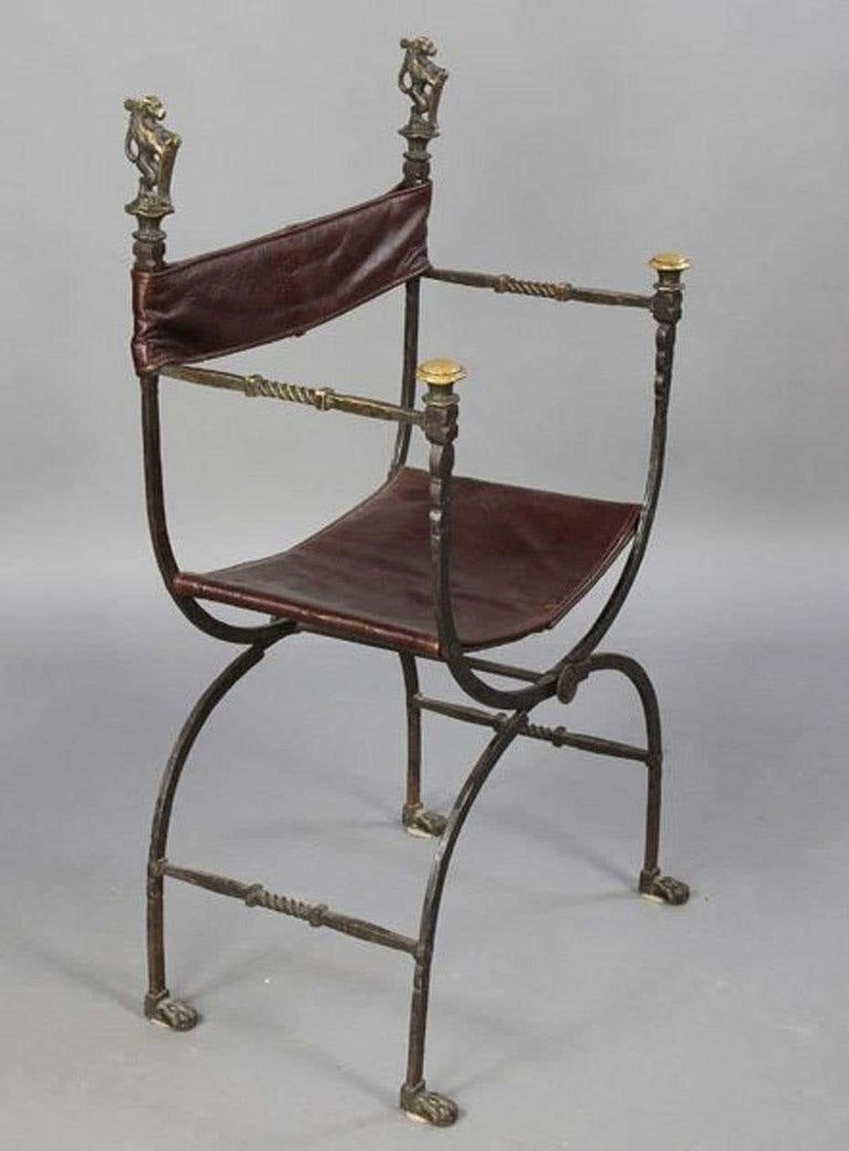 Baroque Pair of Bronze Leather and Iron Campaign Chairs For Sale