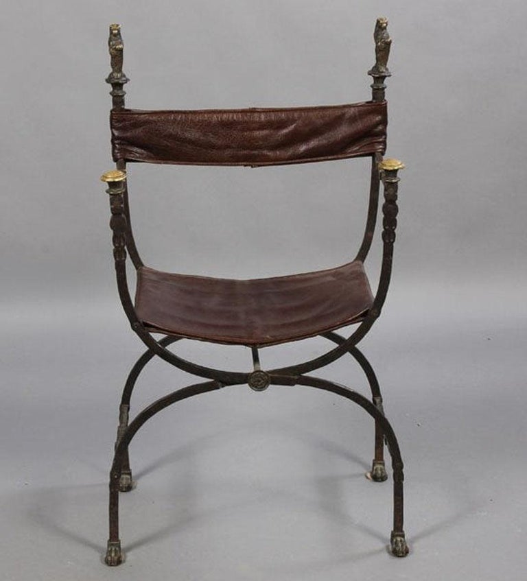 Pair of Bronze Leather and Iron Campaign Chairs In Good Condition For Sale In Great Barrington, MA