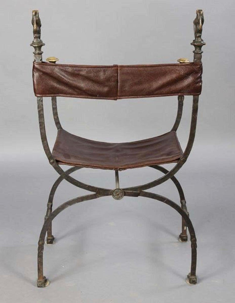 Early 20th Century Pair of Bronze Leather and Iron Campaign Chairs For Sale