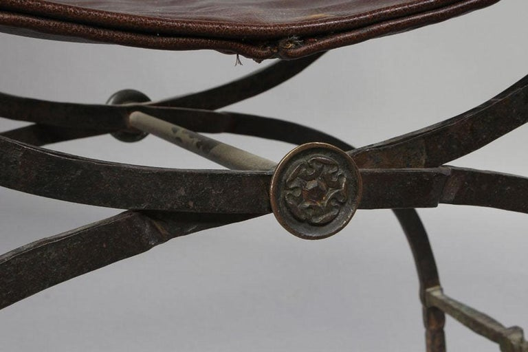 Pair of Bronze Leather and Iron Campaign Chairs For Sale 2