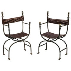 Pair of Bronze Leather and Iron Campaign Chairs