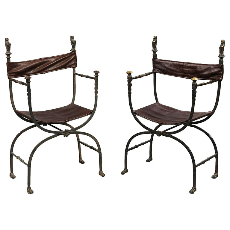 Pair of Bronze Leather and Iron Campaign Chairs For Sale