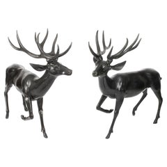 Pair of Bronze Life-Size Fallow Deer Stags, Late 20th Century